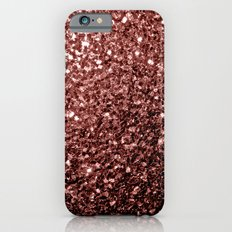 Beautiful Glam Marsala Brown-Red Glitter sparkles iPhone 6 Slim Case