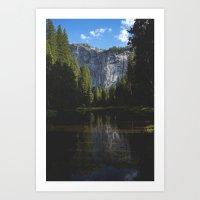 Yosemite National Park - Reflection of Mountains Art Print