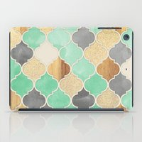 Charcoal, Mint, Wood & Gold Moroccan Pattern iPad Case
