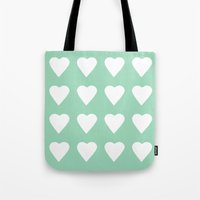 16 Hearts Mint Tote Bag