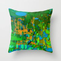 round green garden Throw Pillow