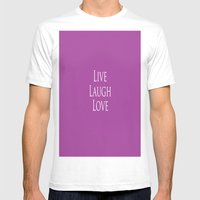 Live Laugh Love Mens Fitted Tee White SMALL