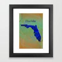 Florida Map Framed Art Print