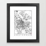 Framed Art Print featuring Amsterdam Schwarzplan by City Map Art
