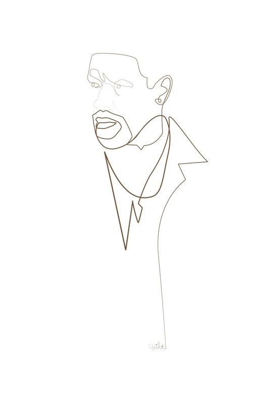 One Line Denzel Washington Art Print