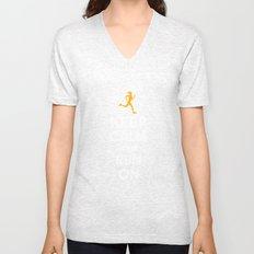 Keep Calm and Run On (female runner) Unisex V-Neck