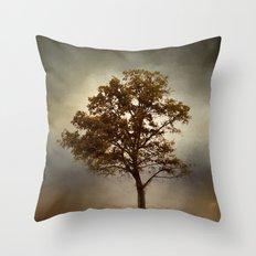 Nutmeg Cotton Field Tree - Landscape Throw Pillow
