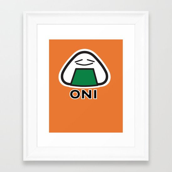 Oni the Onigiri, Kawaii Framed Art Print