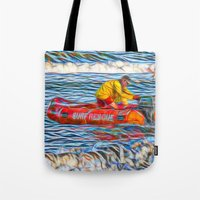 Abstract Surf rescue boat in action Tote Bag