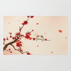 Oriental plum blossom in spring Rug