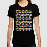 Diamond Hearts on Black Womens Fitted Tee Black SMALL