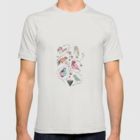 BIRDS OF THE WILD Mens Fitted Tee Silver SMALL