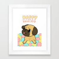 Happy as a Pug in a Ball Pit Framed Art Print