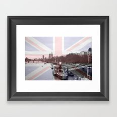 London Skyline and Union Jack Flag  Framed Art Print