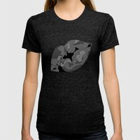 Besos Womens Fitted Tee Tri-Black SMALL