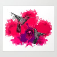 Pink Hum Orchid Explosio… Art Print