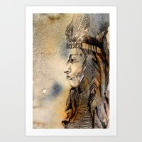 Red Indian Art Print