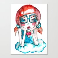 Girl With Cherry Canvas Print