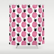 Shower Curtain featuring Pretty Pink Pineapple Pa… by Elisabeth Fredriksso…