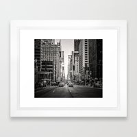 Sunset on 7th (Black and White Version) Framed Art Print