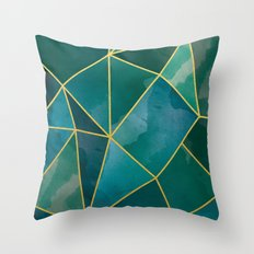 Shattered Emerald Throw Pillow