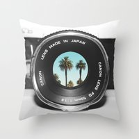 focus on palms Throw Pillow