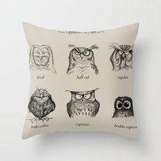 Caffeinated Owls Throw Pillow