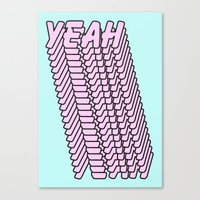YEAH Typography Pink Blue Canvas Print