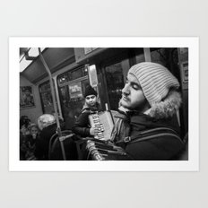 Playing the accordion in the tram for a living 2, Göteborg Sweden Art Print