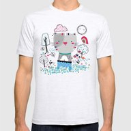 Cat In The Garden Mens Fitted Tee Ash Grey SMALL