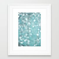 Framed Art Print featuring Aqua Bubbles by Shawn King