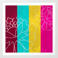 Chinese Flowers & Stripes - Pink Yellow Cyan Red Art Print