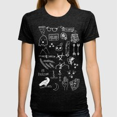 Ravens Doodles White Womens Fitted Tee Tri-Black SMALL