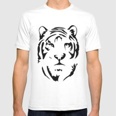 Minimalistic Tiger Face Mens Fitted Tee SMALL White