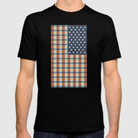 Plaid Flag. Mens Fitted Tee Black SMALL