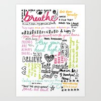 Typography:  Messages to myself Art Print