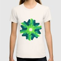 Geometric Flower Womens Fitted Tee Natural SMALL