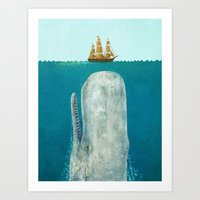 elephants Art Prints featuring The Whale  by Terry Fan