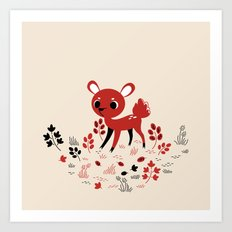 Deer In Red Art Print