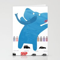 an enormous elephant enjoying england :) Stationery Cards