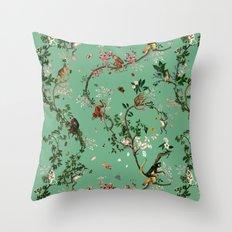 Monkey World Green Throw Pillow