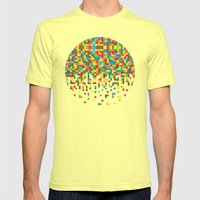 Pixel Chaos Mens Fitted Tee Lemon SMALL