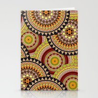 Multicolored Rowed Mandela Pattern Stationery Cards