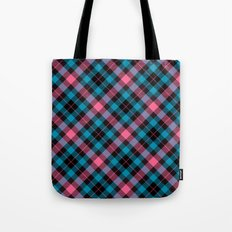 Pink and Blue Plaid Tote Bag