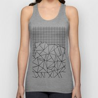Abstract Grid #2 Black on White Unisex Tank Top