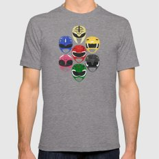 Mighty Morphin Power Ran… Mens Fitted Tee Tri-Grey SMALL