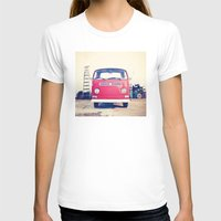 Vintage Volkswagen Bus Womens Fitted Tee White SMALL