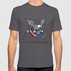 American Eagle Clutching Towing J Hook Flag Drape Retro Mens Fitted Tee Asphalt SMALL