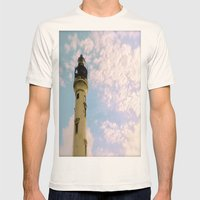 Cloudy At The Lighthouse Mens Fitted Tee Natural SMALL