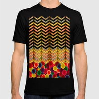 Chevron And Dots Mens Fitted Tee Black SMALL